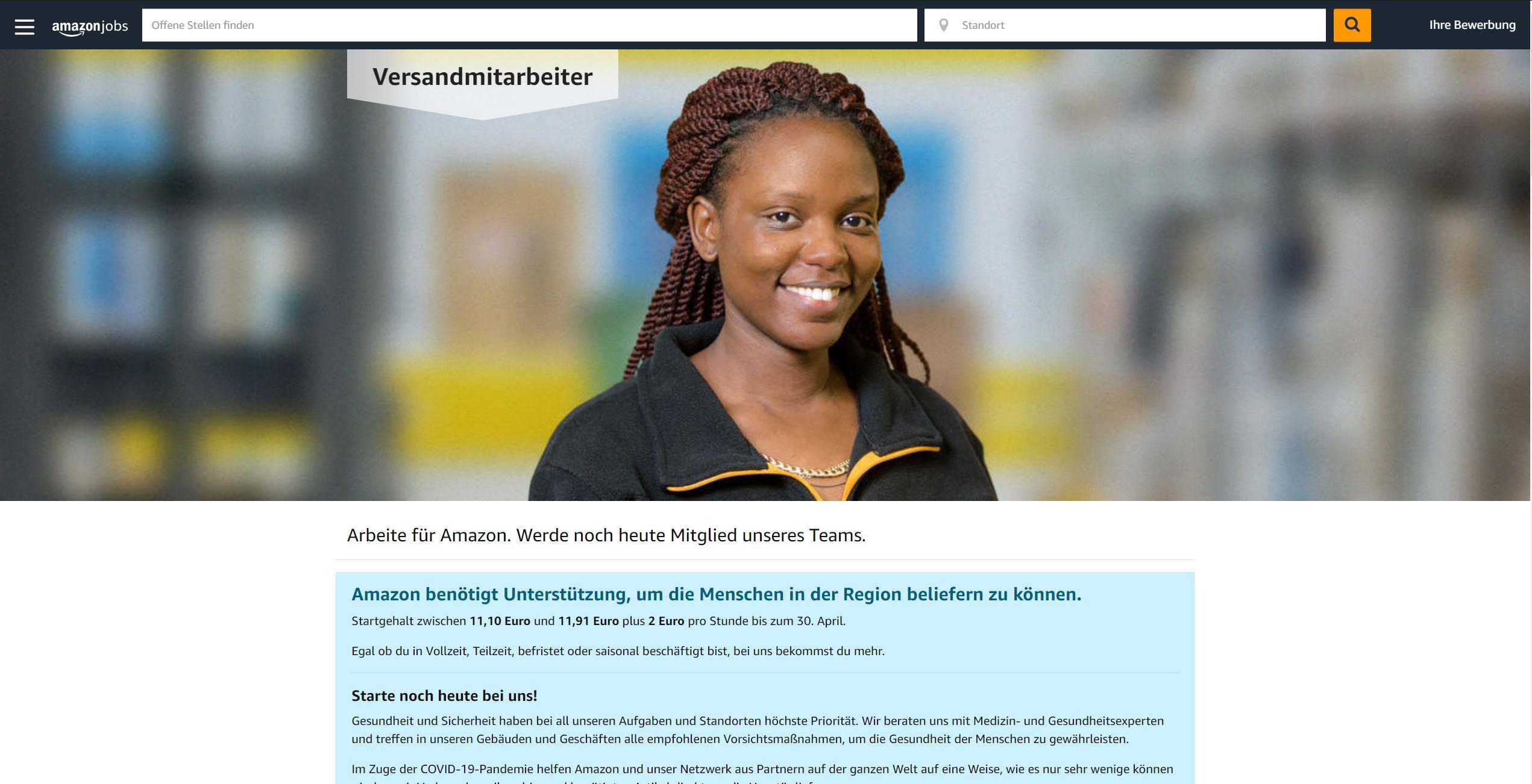 amazon Stellenangebot Website
